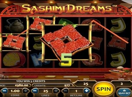 Выигрыш за комбинацию символов в автомате Sashimi Dreams